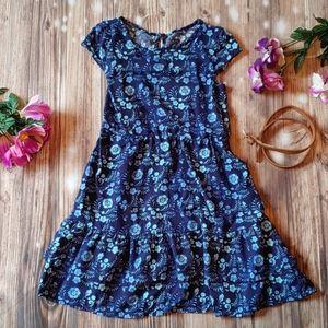 Girls Blue Floral Ruffle dress with belt 6X